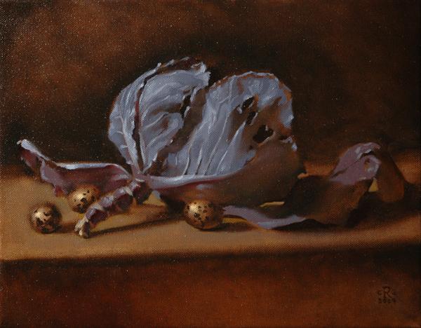 Rebecca C Gray, Cabbage with Quail Eggs, 2009.