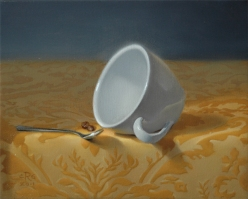"""Rebecca C Gray Coffee Cup on Yellow Fabric, 8""""x10"""", Oil on Canvas, 2011"""
