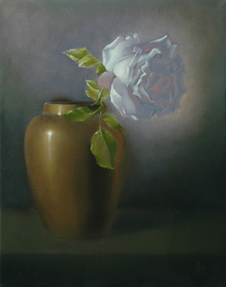 Rebecca C Gray, White Rose in Brass Vase, 2009.