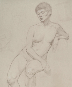 Rebecca C Gray, Seated Female Nude, detail, 2014.