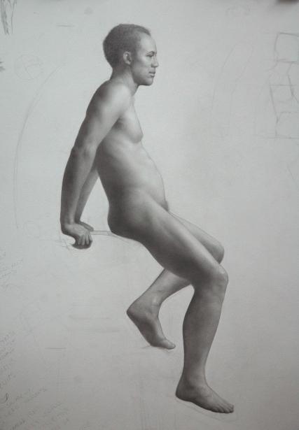 Rebecca C Gray, Seated Male Nude, 2013.