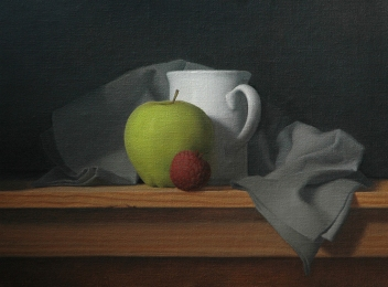 Coffee with Apple and Lychee, 2014. Oil on Linen, 9 x 12 in.